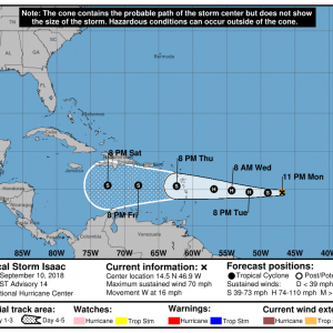 024525 5day cone no line and wind 300x300 1 - Boletín Tormenta Tropical Isaac, martes 11 de septiembre de 2018, 5:00pm