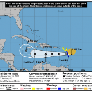 090133 5day cone no line and wind 300x300 1 - Boletín Tormenta Tropical Isaac, martes 11 de septiembre de 2018, 5:00am