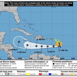144134 5day cone no line and wind 300x300 1 - Boletín Tormenta Tropical Isaac, martes 11 de septiembre de 2018, 5:00am