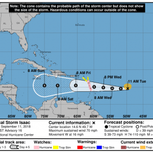 145743 5day cone no line and wind 300x300 1 - Boletín Tormenta Tropical Isaac, martes 11 de septiembre de 2018, 5:00am