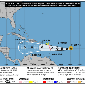 145743 5day cone no line and wind 300x300 - Boletín Tormenta Tropical Isaac, martes 11 de septiembre de 2018, 11:00AM