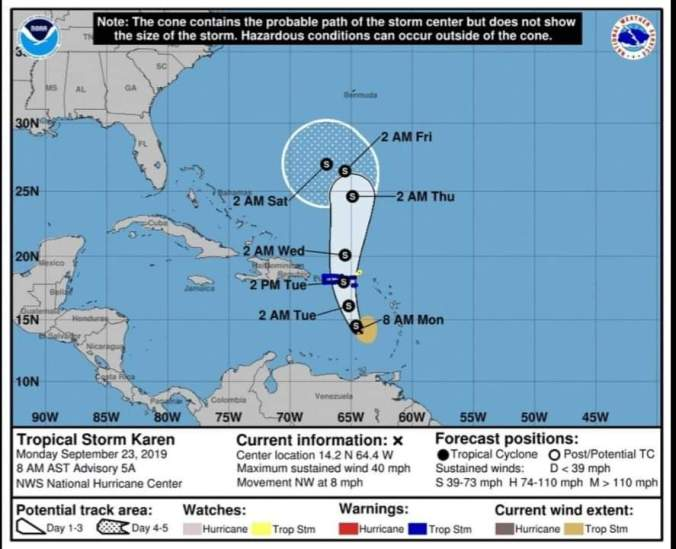 FB IMG 1569253483967 - Emite advertencias para Puerto Rico, las Islas Vírgenes Por La tormenta tropical Karen