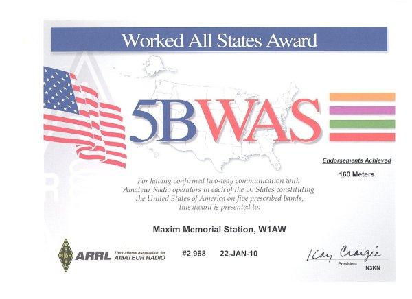 5bwas cert - Precio especial para las aplicaciones ARRL 5Band WAS y Triple Play WAS Award-Plaque