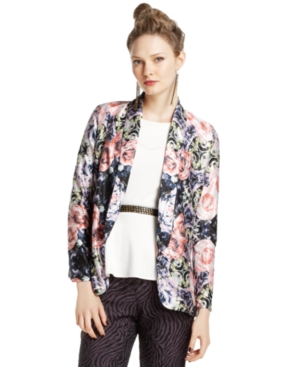Bar III Jacket, Long-Sleeve Floral-Print Blazer, $40.99