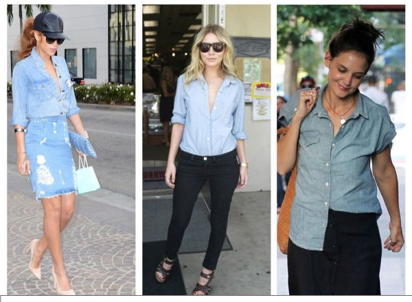 Rianna, Ashley Olsen, and  Katie Holmes are in on the denim shirt trend.