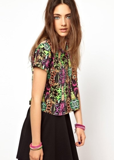 Monki Digital Print Crop T-Shirt_$20.36