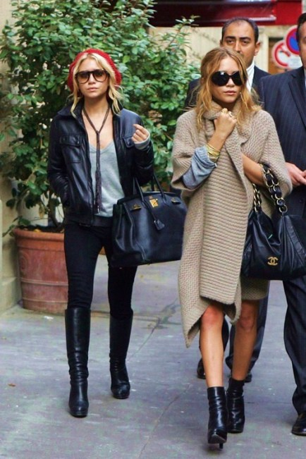 Olsen-twins-chunky-knits-leather-jacket-street-style
