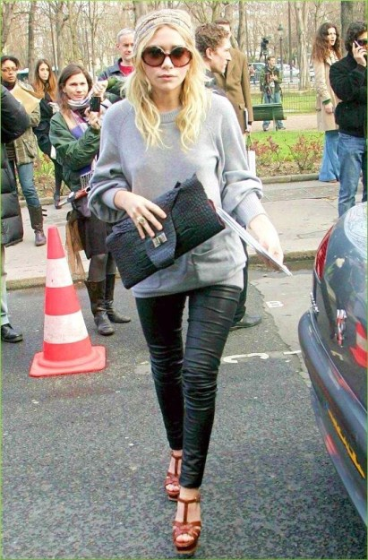 olsen-twin-leather-pants-gray-sweater-scarf