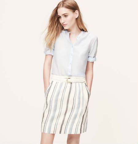 Striped Linen Cotton Skirt, LOFT $49.50