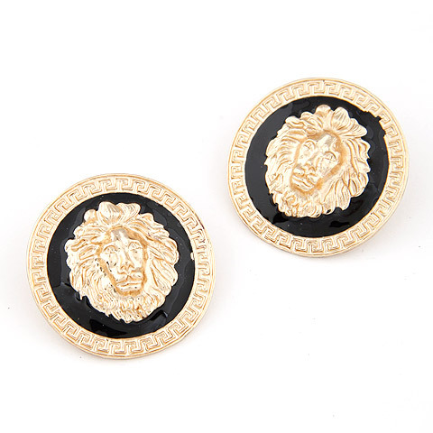 LION MEDALLION BLACK AND GOLD EARRING, £4.50