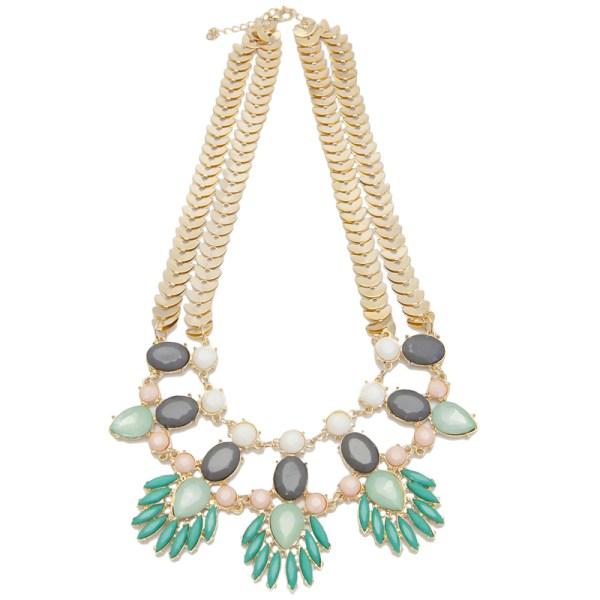 Mint Spring Leaf Resin Necklace, $48