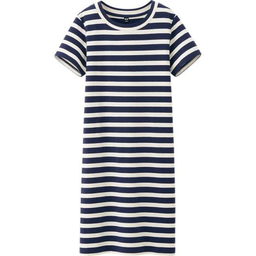 Uniqlo Cotton Modal Striped Short Sleeve Dress, $29.90