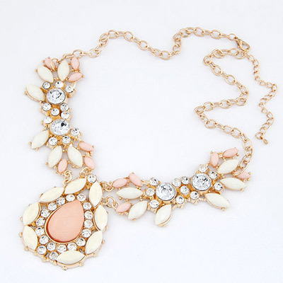 PEACH PEAR DROP STATEMENT NECKLACE, £7.20