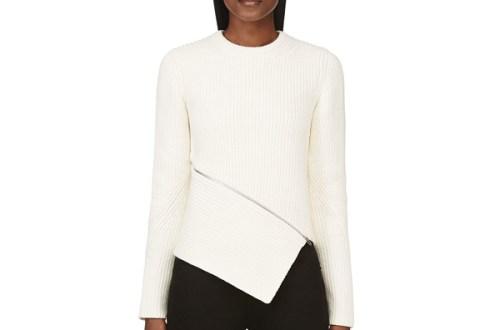 Alexander Wang Ivory Asymmetrical Zip Pullover $595-3