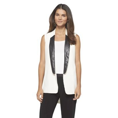 Mossimo® Women's Suit Vest with Faux Leather, $28