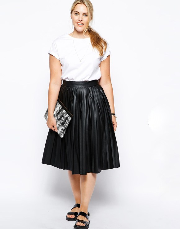 ASOS CURVE Midi Skirt In Pleated Leather Look $114