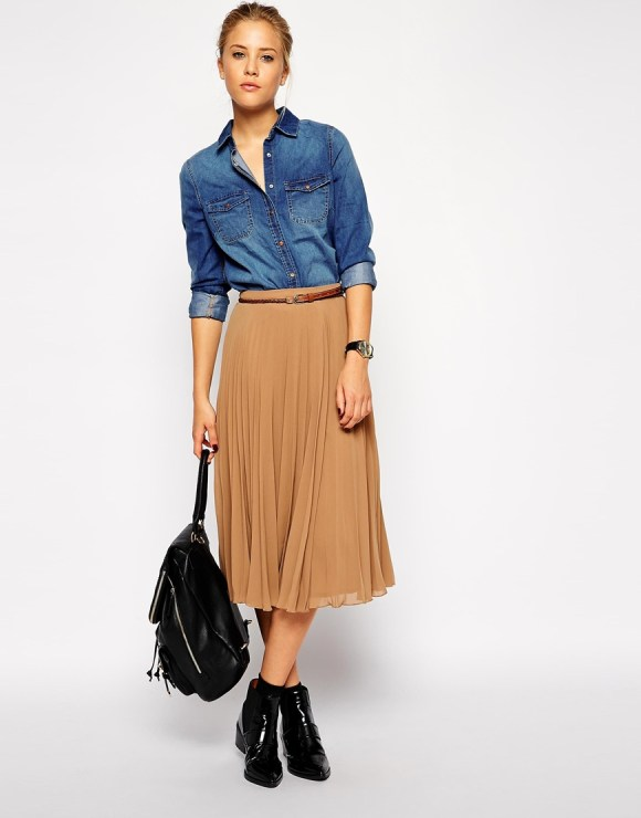 ASOS Pleated Midi Skirt $57