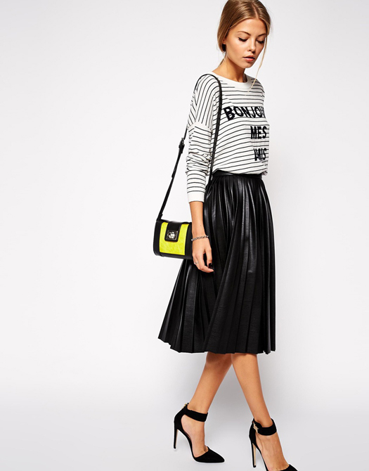 ASOS Pleated Midi Skirt in Leather Look
