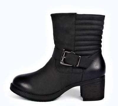 Olivia Quilted Back Block Heel Biker Boot, Boohoo.com $60