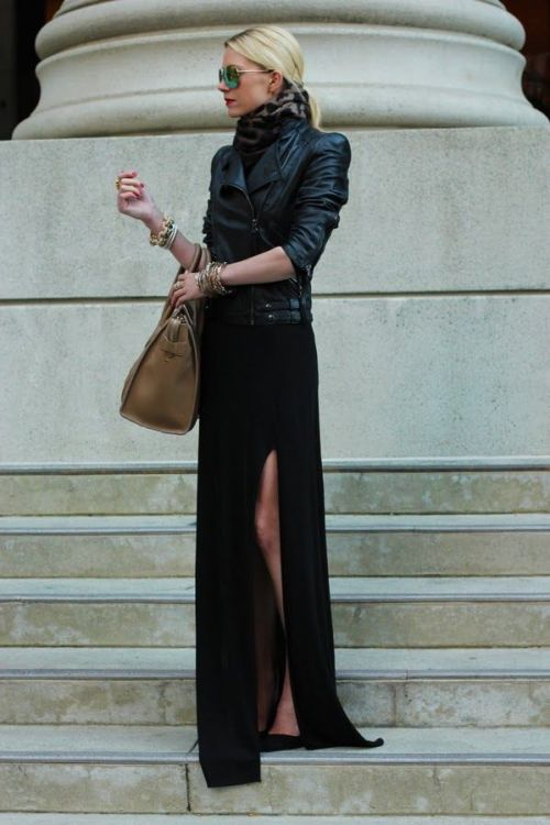 maxi dress + moto jacket-2
