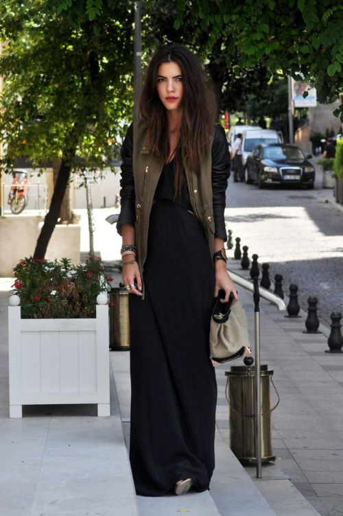 maxi dress + moto jacket