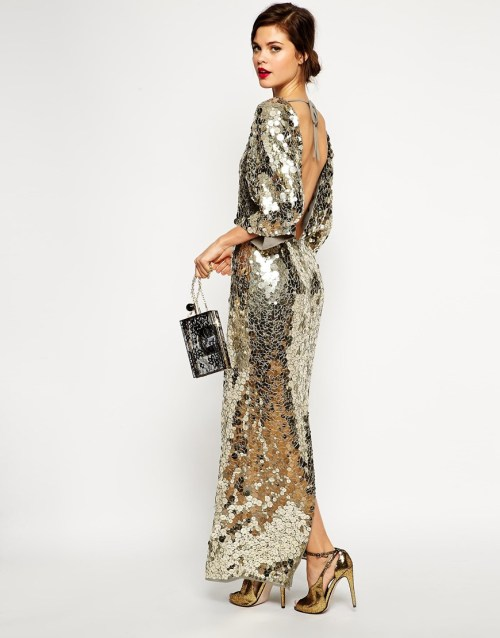 ASOS RED CARPET Premium All Over Sequin Kimono Maxi Dress