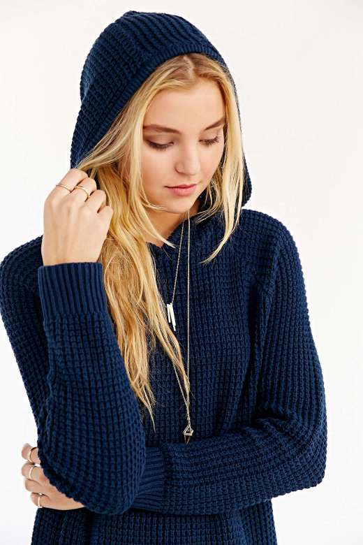 Silence + Noise Side Slit Hooded Sweater