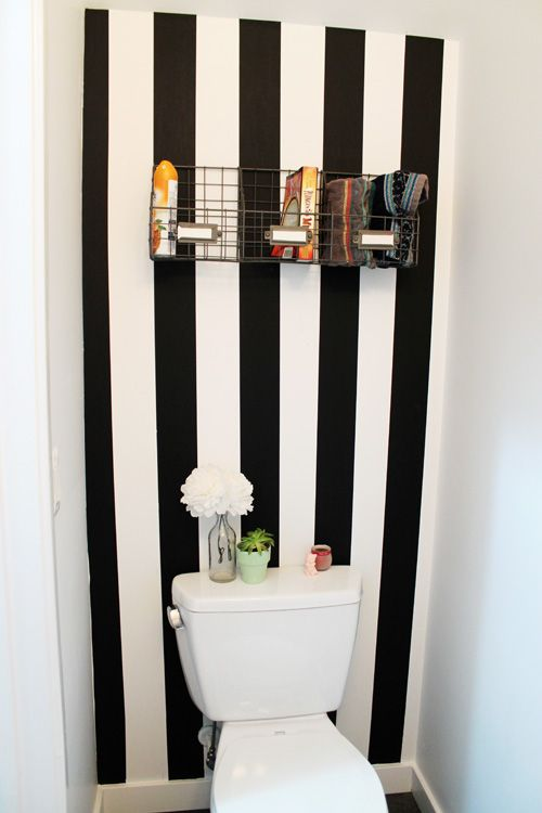 striped bathroomwall