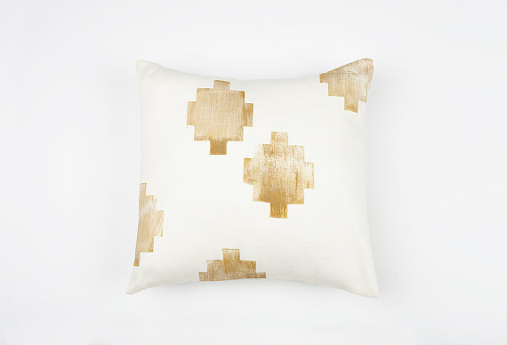 Confetti Riot Shop Gold and Cream Southwest Print Pillow Cover