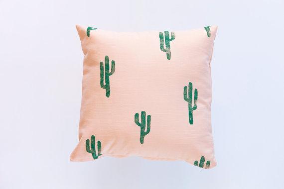 Confetti Riot Shop Green and Peach Cactus Print Pillow