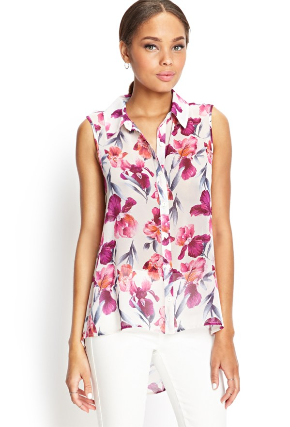 Forever 21 Watercolor Floral Woven Shirt