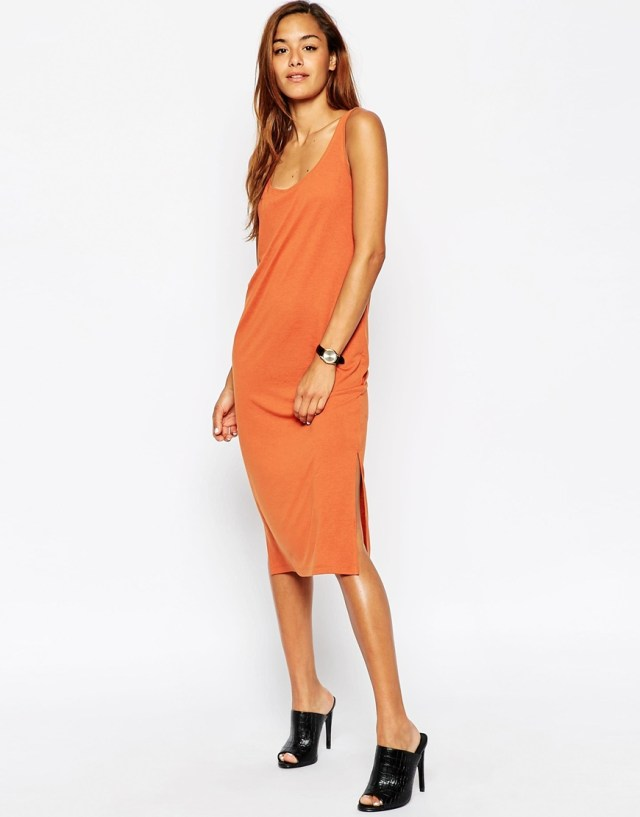 ASOS Tank Midi Dress Side Splits-terracotta
