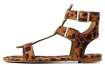 Charlotte Russe Dollhouse Gold-Tipped Triple T-Strap Sandals