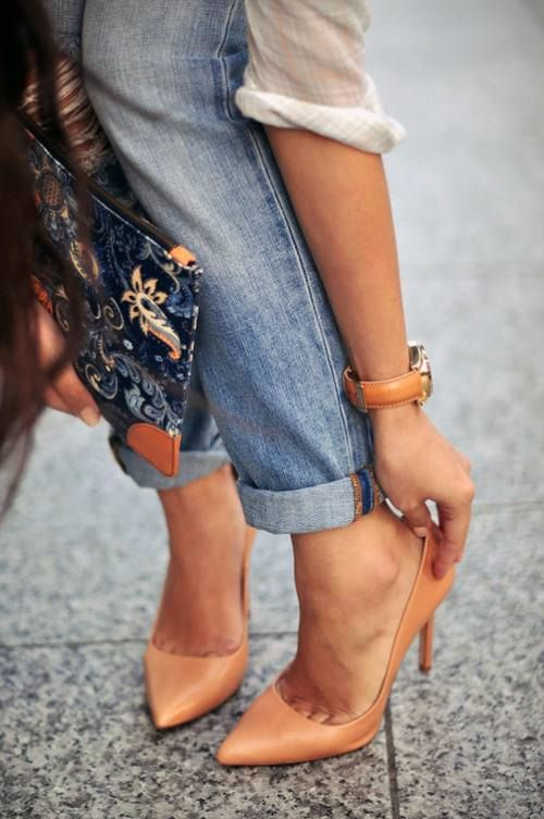 Distressed Denim Nude Heels