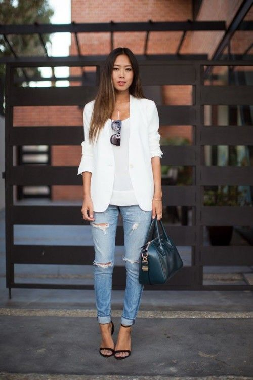 Distressed Denim and Blazer