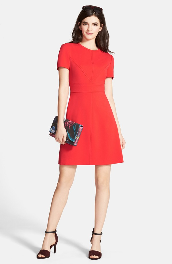 Eliza J Seam Detail Crepe A-Line Dress