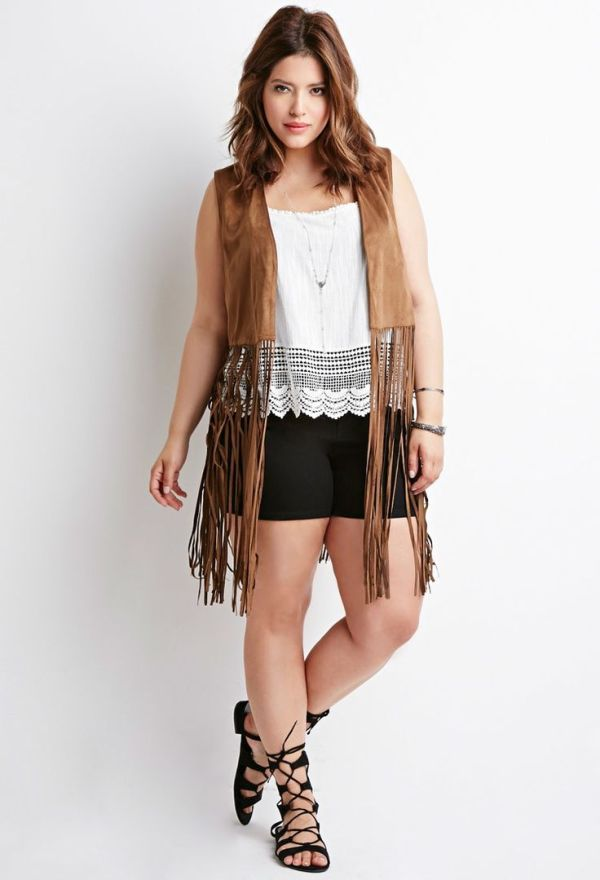 Forever 21 Plus Fringed Faux Suede Vest