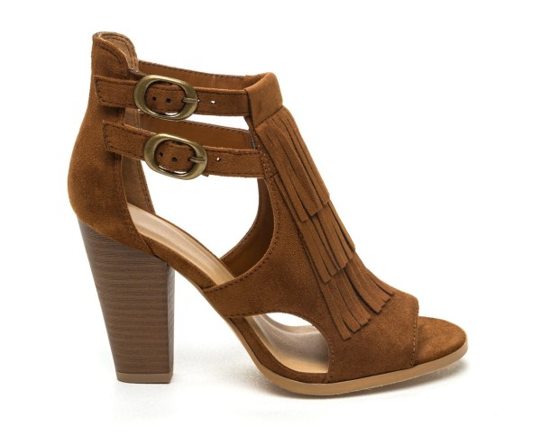 Go Jane Boho Touch Fringe Cut-Out Heels