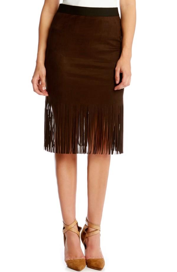 Karen Kane Faux Suede Mini Pencil Skirt with Fringe