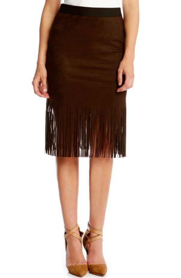 Karen Kane Faux Suede Mini Pencil Skirt with Fringe