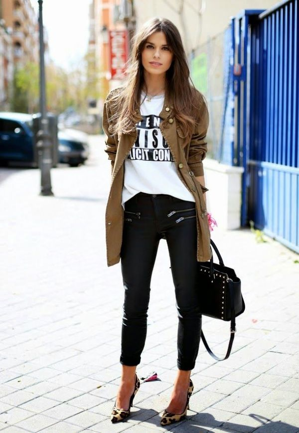 graphic tee leather pants