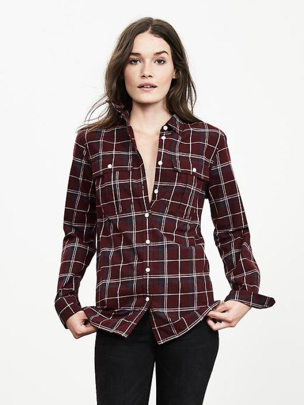Soft-Wash Burgundy Plaid Boyfriend Shirt Banana Republic