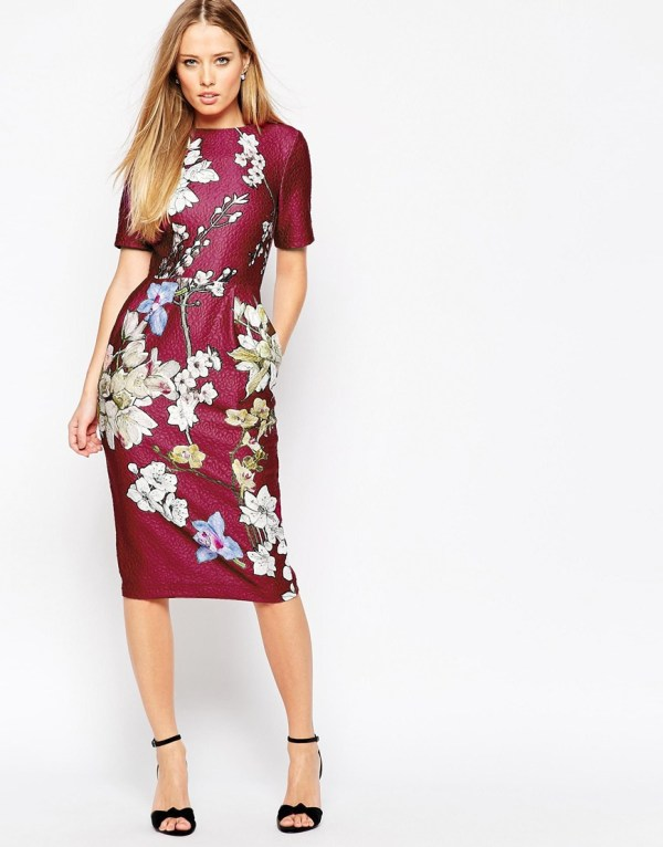 ASOS Occasion Wiggle Dress in Floral Placement Print
