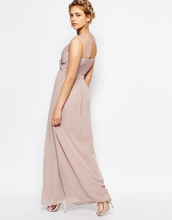 Little Mistress Embellished Shoulder and Drape Front Maxi Dress
