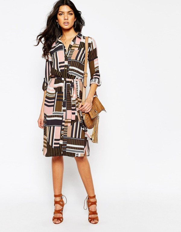 River Island Geo Print Midi Shirt Dress