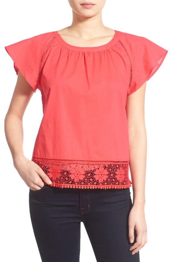 cupcakes and cashmere 'Sydney' Lace Trim Blouse