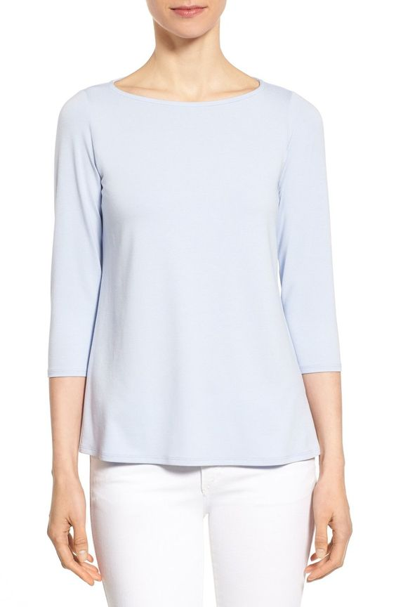 Eileen Fisher Bateau Neck Jersey Top