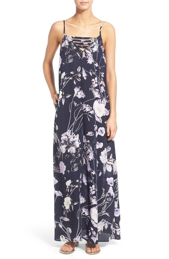Mimi Chica Floral Print Strap Detail Maxi Dress