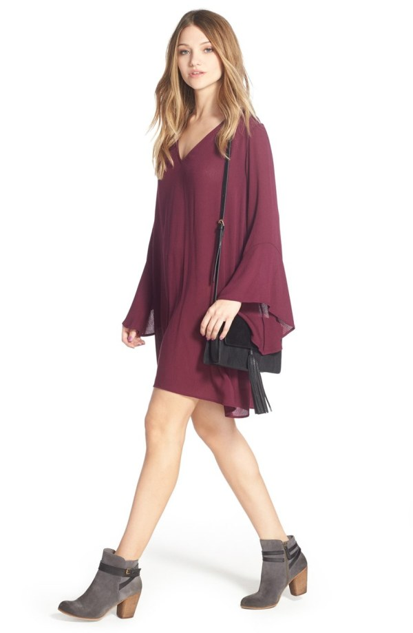 'Whitney' Bell Sleeve Woven Shift Dress