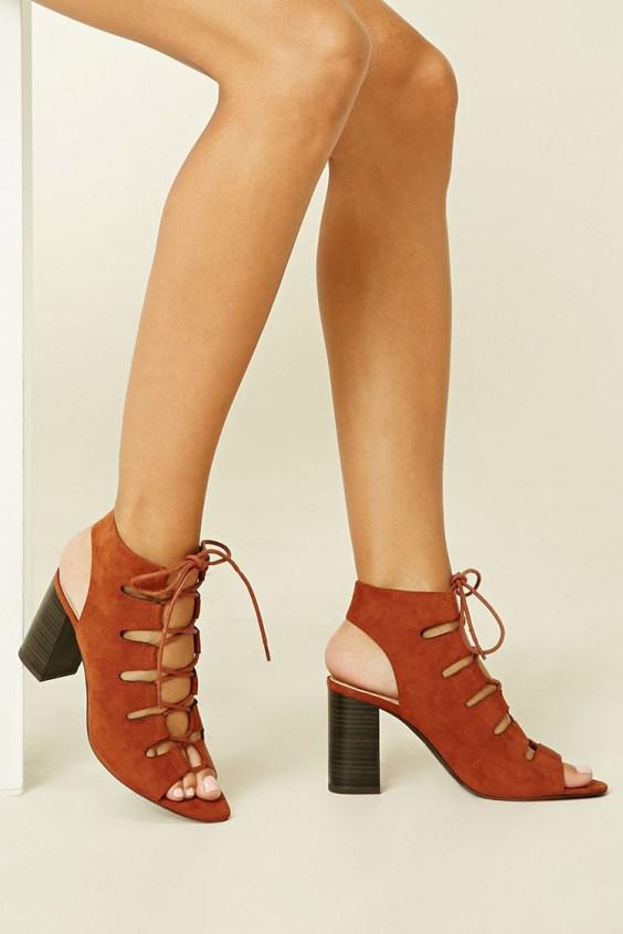 Lace-Up Faux Suede Cutout Heels